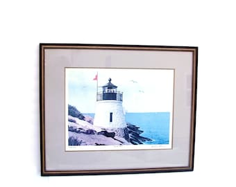 Lighthouse Art Lithograph Nautical Beach Decor Castle Hill New England Seascape Framed Signed