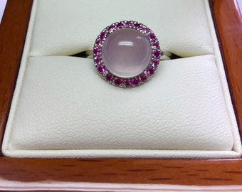 9ct white gold handcrafted rose quartz and pink sapphire ring