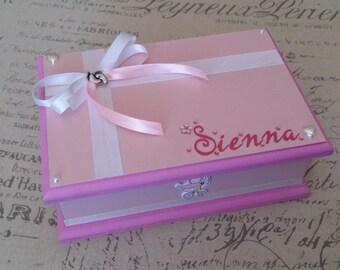 Girl Personalised Keepsake Box, Trinket Box, Treasure Box, Jewellery Box, Memory Box, Wooden Box, Baby Box, Personalised Box - Pink