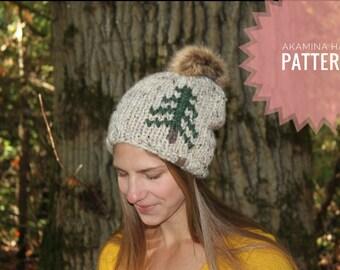 Akamina Hat Pattern // Tree Hat Pattern // Slouchy Knit Hat Pattern // Chunky Knit Hat