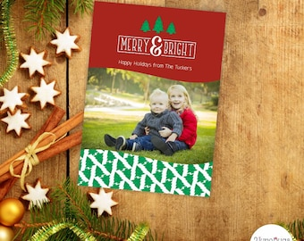 Merry & Bright Christmas Photo Card with Christmas Trees, Personalized Photo Christmas Cards, Digital Christmas Card, Family Photo Card