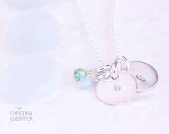 Initial Necklace, Delicate Silver Hand Stamped Necklace, Dainty Round Initial Charm, Birthstone Crystals, Gift for Her, Christina Guenther