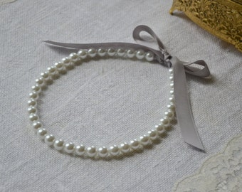 Victoria {Little Girl} - Flower Girl Pearl Necklaces - White Pearls with Gray Ribbon Tie