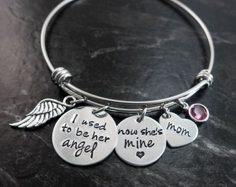 Charm Bracelet / Wire Bangle / I used to be her angel how she's mine / In memory of Mom / Personalized / Memorial Jewelry / Remembrance