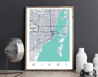 Miami Map/Miami Street Map/Miami City Map/Miami Map Poster/Miami Map Print/Miami Wall Art/Miami FL/City Map of Miami/Miami Beach FL/USA Map