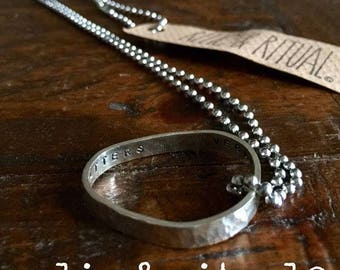 Hammered Sterling Silver VEGAN Organic Form Pendant with Secret Message