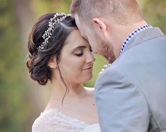 Crystal Bridal Crown, Crystal Hair Wreath, Boho Head Piece, Wedding Hair vine, crystal hair acessories, crystal crown, bridal hair piece