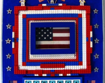 Altered - Recycled 3D GAME BOARD - Assemblage/Collage with center glass framed flag