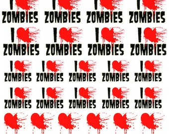 Zombies Nail Decals - I Love Zombies - Nail Accessories-Stickers