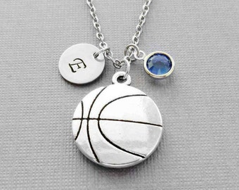Basketball Necklace, BBall Player Gift, Large Basketball Charm, Swarovski Birthstone, Silver Initial, Personalized Monogram, Hand Stamped