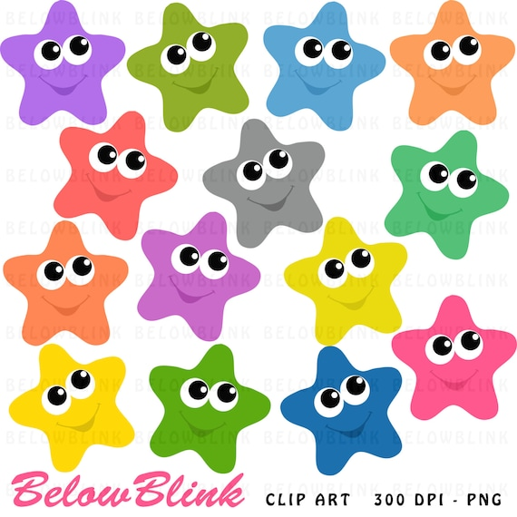 happy stars clipart clip art digital scrapbooking commercial rh etsy com stars clip art black and white stars clipart free