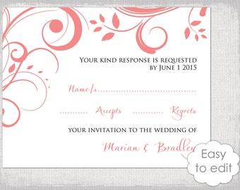 rsvp template diy lavender silver gray scroll