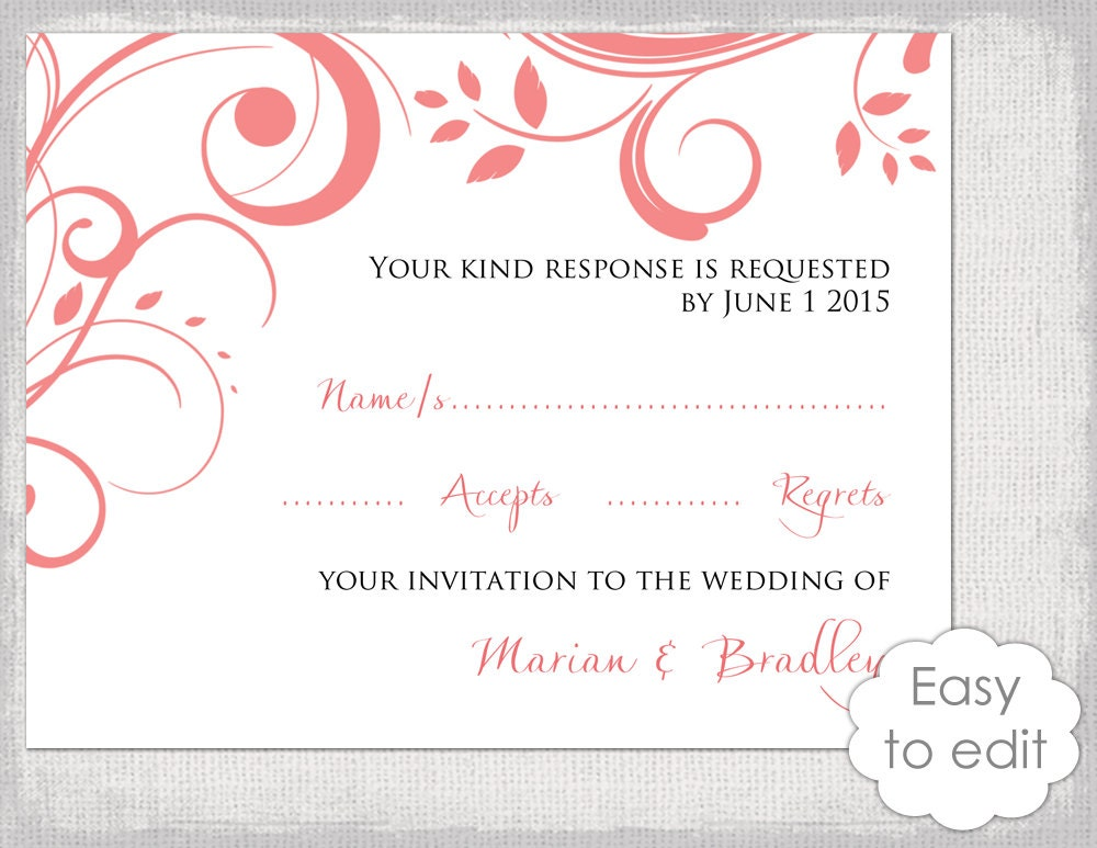 Wedding RSVP card template DIY Coral Scroll