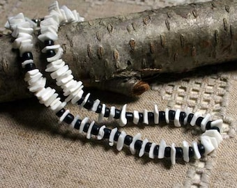 "18"" Puka Shell White Chip Black Coco Necklace Beach Surf Choker"