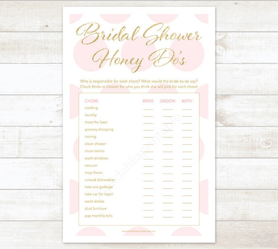 Pink and gold bridal shower game honey do list pink and gold junglespirit Choice Image