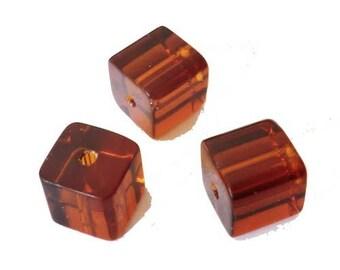 10 x 10mm chocolate glass cube beads