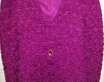 Vintage Silk Ruched Evening Jacket for Miss Jackson's.  Elegant Jeweled Party Find Size 6