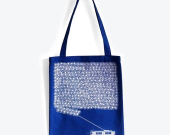Blue TrolleyBus Tote Bag - Shopping Bag, Christmas Gift idea, Gifts for Her, Gifts for Women, Blue Bag, White Print - Vilnius, Lithuania