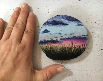 Sunset in Denmark on wood - wooden disk painted with acrylic paint