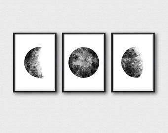 Moon Print Set from Watercolor Painting Wall Art Home Decor Poster Set Of 3 Moons Luna Bedroom Matching Prints Celestial Moon Phases SET003