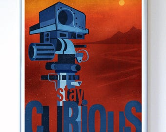 11 x 14 - Mars Curiosity Rover Space Probe, Science Poster, Art Print, Illustration - Stellar Science Series™