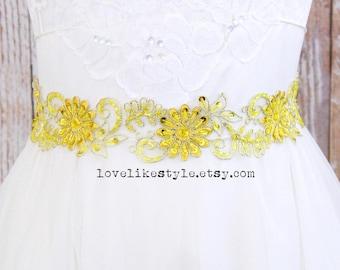 Yellow Beaded Lace Sash, Bridal Yellow Sash, Bridesmaid Yellow Sash, Flower Girl Yellow Sash / SH-57