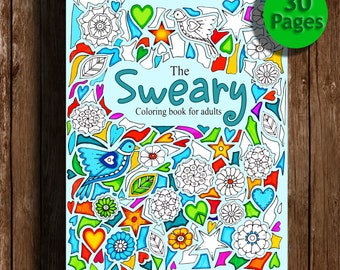 Sweary coloring book Digital download , 30 PagesSwear Words , Sweary Coloring Book , Sweary, Coloring Book For Adults ,
