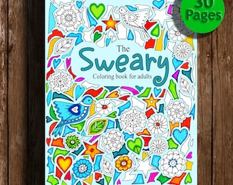Sweary Coloring Book Digital Download 30 PagesSwear Words For Adults