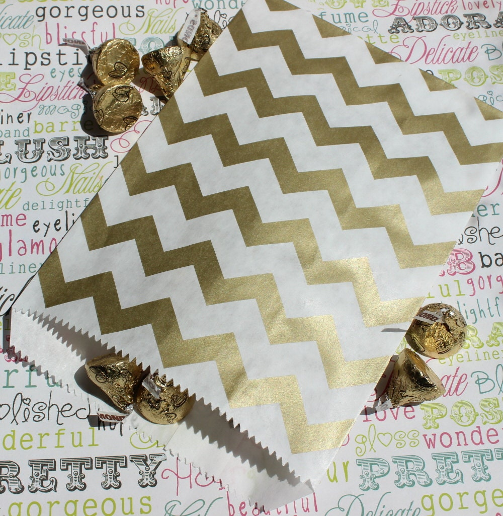 50 Gold Chevron Candy Bags Gold Wedding Candy Bags Gold