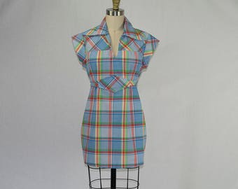 Vintage 1970s Hippie Plaid Tunic Top Baby Doll Underbust Ties Cap Sleeves Wide Collar