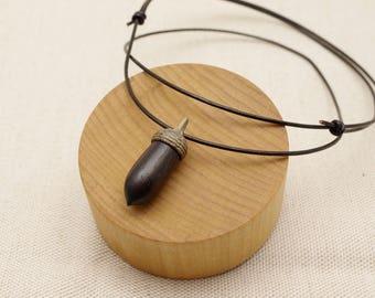 Wood Carving Acorn Pendant : Ebony & Jindai Ash   B'-1_P