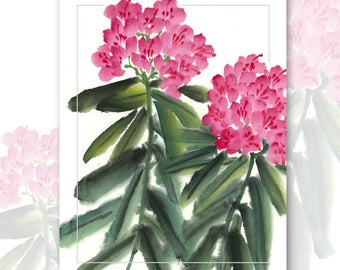 Watercolor Chinese Brush Painting Cards -  Rhododendron