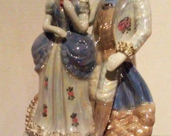 "Vintage German Dresden Lace Colonial Couple 13"" Tall"