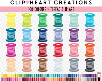 100 sewing thread Clip Art, Commercial use, Digital clip art, sewing, Rainbow digital scrapbooking clip art, planner clipart, digital thread