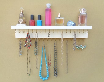 Jewelry / Necklace Rack - Necklace Holder - Wall Mounted Jewelry Organizer - Top Shelf - 35 Hooks - Keyhole Hangers  - Many Color Options