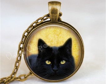 BLACK CAT Necklace, Peeking Cat, Kitten, Cat Jewelry, Cat Pendant, Cat Charm, Black Cat Jewelry, Glass Photo Art Pendant Necklace