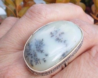 RING 925 sterling silver and dendritic Opal (BA138)