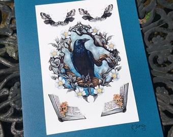 Raven Card - moths, mushrooms, toadstools, books, gothic, corvid - blank greetings card, Raven King, decay, Memento Mori art, magic books