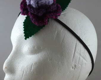 Crocheted Rose Headband - Lavender, Purple, and Sparkly Hot Pink (SWG-HH-MPTS02)