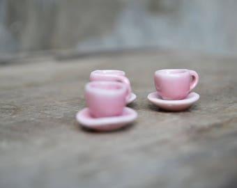 Miniature Pink Teacup with Saucer / Dollhouse Teacup / Tiny Cups