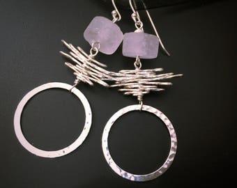 Boucles d'oreilles Quartz rose, cadeau pour elle, cercle en argent boucles d'oreilles, bijoux contemporains géométrique moderne, Prasiolite, cadeau de Noël