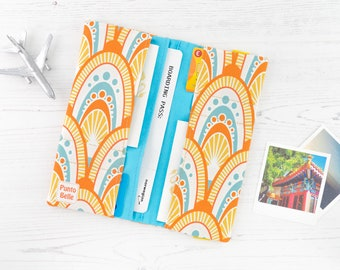Passport Holder // Travel Wallet In Exclusive Fabric - Honey // Geometric Pattern // Family Sized // Gifts For Women // Travel Gifts