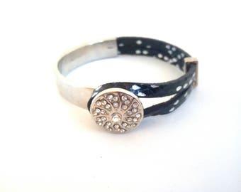 Half leather and silver metal Bangle Bracelet
