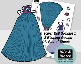 Evening Gowns for Paper Dolls- Paper Doll Fashions- Digital Downlaod- Printable Paper Dolls-Mix & Match