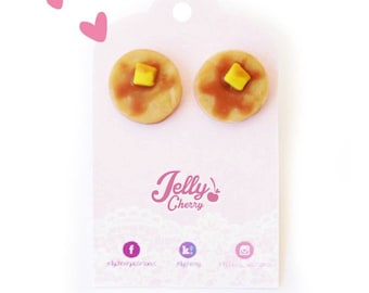 Klkawaii stud pancake earrings/ hotcakes