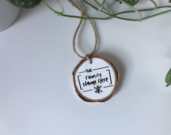Personalized Family Ornament, Last Name Ornament, Birch Tree Ornament