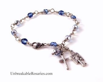 Guardian Angel Rosary Bracelet Sapphire Blue Silver Czech Glass Beads Wire Wrapped by Unbreakable Rosaries