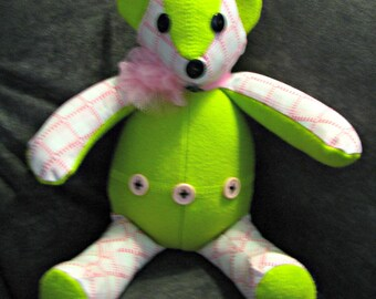 Custom Made Teddy Bear from baby/infant sleeper, outfit, infant clothing, keepsake item, treasure to keepsake, memorial, custom embroidery