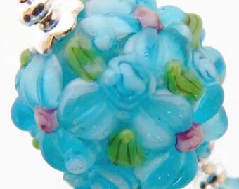 Pretty Floral Lampwork Earrings with Swarovski Teardrops, Sterling Silver Earwires, Organic Earrings, Blue Flower Pierced Earrings. ME-506