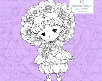 PNG Anemone Sprite - Aurora Wings Digital Stamp - Little Anemone Flower Fairy - Fantasy Line Art for Arts and Crafts by Mitzi Sato-Wiuff